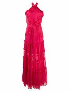 Alexis silk halter-neck maxi dress - PINK