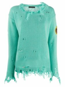 Etro distressed knitted jumper - Green
