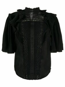 Isabel Marant lace-insert fluted-sleeve blouse - Black