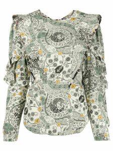 Isabel Marant Étoile floral print ruffle trim blouse - NEUTRALS