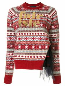 Kolor fair isle panelled jumper - Red