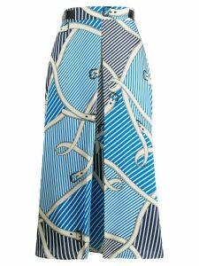 MSGM mixed print wrap skirt - Blue