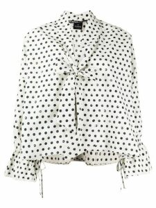 Pinko bow neck polka dot print blouse - White