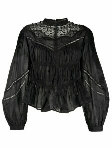 Isabel Marant ruched bell sleeve blouse - Black
