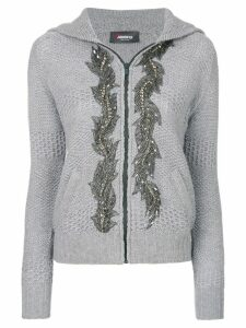 Jo No Fui embellished hooded cardigan - Grey