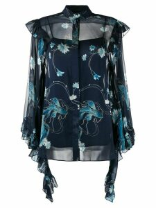 Alberta Ferretti draped sleeves floral shirt - Blue