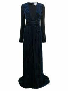 Galvan long-sleeve flared gown - Blue