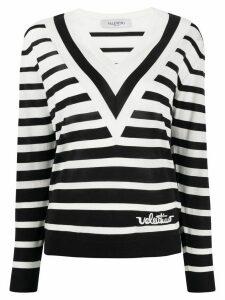 Valentino striped V-neck jumper - White