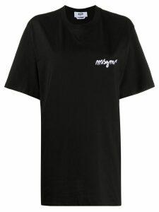 MSGM oversized logo-embroidered T-shirt - Black