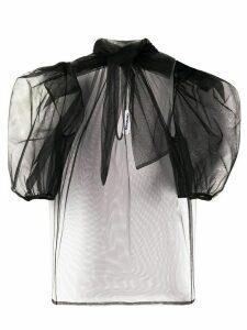 Brognano tulle puff-shoulder blouse - Black
