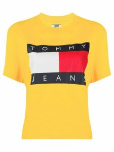 Tommy Jeans flag print cropped T-shirt - Yellow