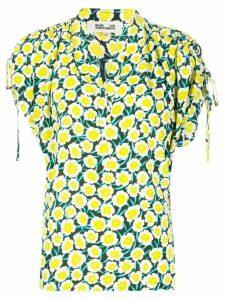 DVF Diane von Furstenberg Daica ruched-shoulder blouse - Yellow