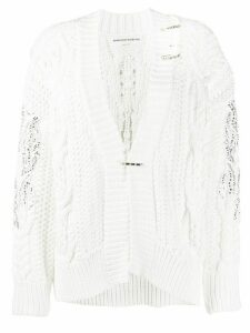 Ermanno Scervino embellished chunky-knit cardigan - White