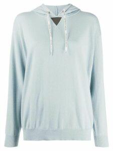 Brunello Cucinelli bead-notch knitted hoodie - Blue