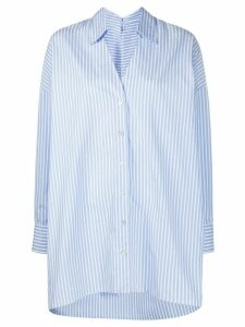 Erika Cavallini oversized striped print shirt - Blue
