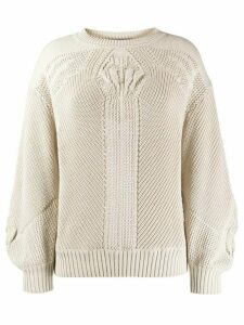 Alberta Ferretti geometric-pattern relaxed-fit jumper - NEUTRALS