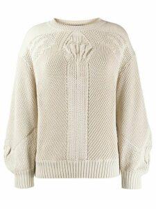 Alberta Ferretti geometric-pattern relaxed-fit jumper - NEUTRALS