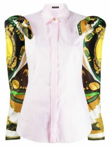 Versace baroque sleeves striped shirt - PINK