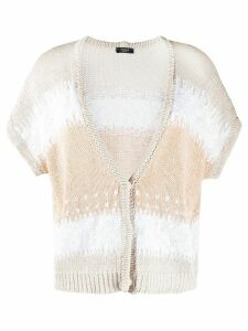 Peserico block stripe knit cardigan - NEUTRALS