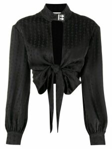 Off-White jacquard logo cropped blouse - Black