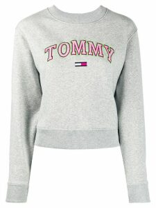 Tommy Jeans logo embroidered long-sleeved sweatshirt - Grey