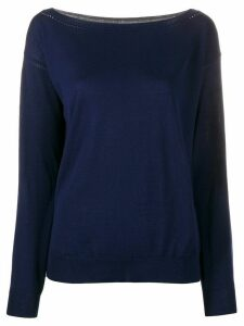 P.A.R.O.S.H. perforated boat-neck pullover - Blue
