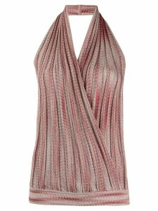 Missoni halter neck knitted wrap top - Red