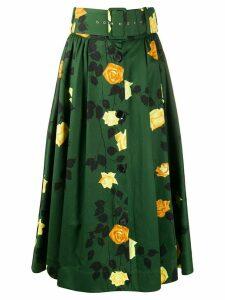 MSGM rose-print belted A-line midi skirt - Green