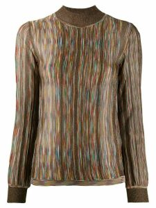 Missoni funnel neck intarsia knit sweater - GOLD