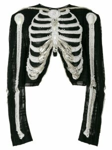 Thom Browne Reverse Opening Cardigan Jacket In Crystal Skeleton
