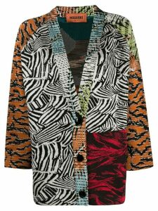 Missoni pattern mix cardigan - Red