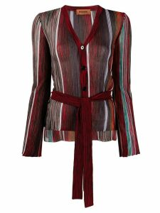 Missoni V-neck striped knit cardigan - Red