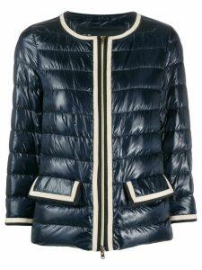 Herno contrast-trim collarless down jacket - Blue