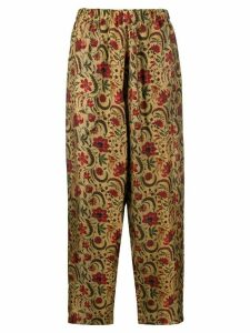 Uma Wang floral embroidered high-rise trousers - NEUTRALS