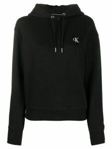 Calvin Klein Jeans monogram logo embroidered hoodie - Black