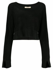 Maison Flaneur cropped long-sleeve jumper - Black