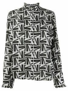 MSGM logo print ruffle trim shirt - Black