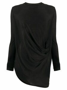 Rick Owens draped fine knit top - Black