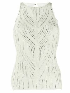 Ermanno Scervino glass-embellished knit top - White