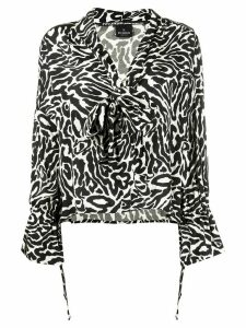 Pinko tie neck leopard print blouse - Black
