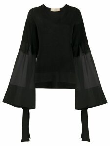 Maison Flaneur draped long-sleeve blouse - Black