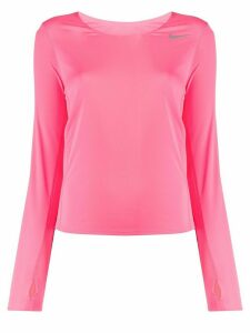 Nike scoop neck Swoosh logo sweater - PINK