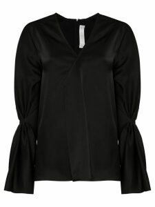 Victoria Beckham pleated V-neck blouse - Black