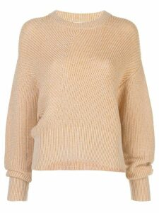 Nicholas diagonal ribbed knit jumper - ORANGE