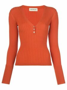 Nicholas ribbed jersey long-sleeve top - ORANGE