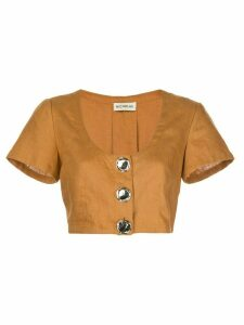 Nicholas cropped button top - Brown