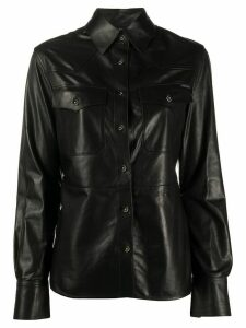 Tom Ford chest pockets leather shirt - Black