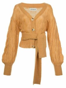 Nicholas cable-knit tie waist cardigan - ORANGE