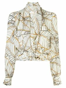 Nicholas leaf print blouse - Black
