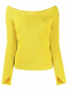 Ermanno Scervino V-neck perforated knit top - Yellow